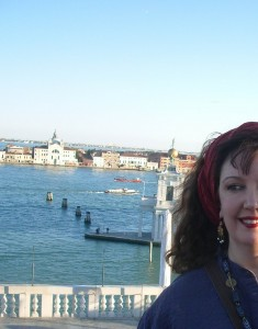 Michelle with Le Zitelle church, Venice in the background. It was a former haven for young maidens without dowries - there's a story there!